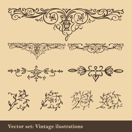 Vintage elements background set Vector