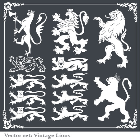 lion wings: Heraldic elements set Illustration