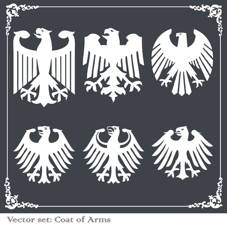 Heraldic eagles set vector background Stock Vector - 10322121