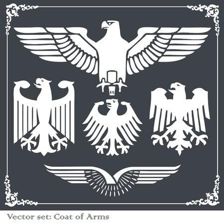 lion wings: Eagles her�ldicos establecer fondo vectorial