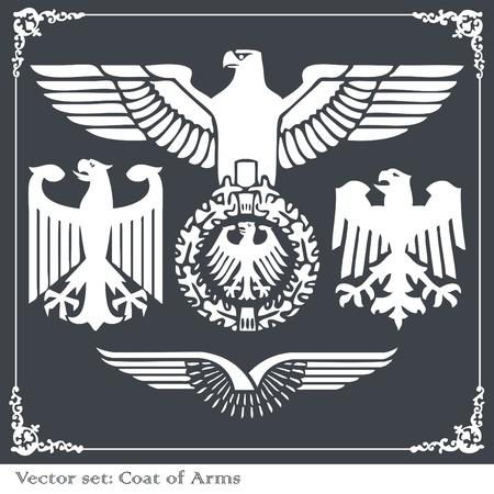 tatuaje de aves: Eagles her�ldicos establecer fondo vectorial