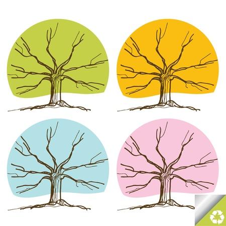 Tree set background Vector