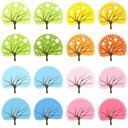 Tree set background Stock Vector - 10330744