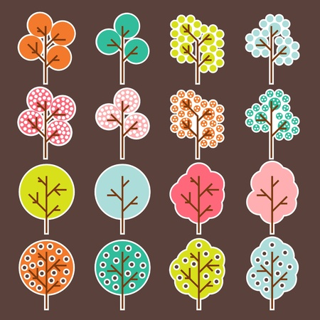 Tree set background Vector