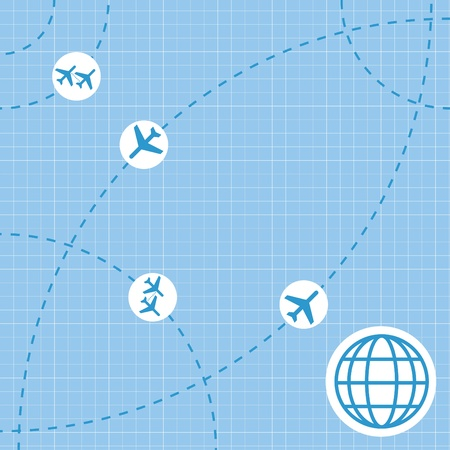 air travel: Viaggi aerei mappa di sfondo Vettoriali