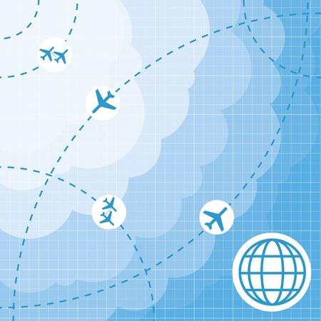 air travel: Aereo mappa di sfondo