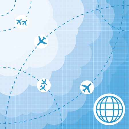 Air travel map background Vector