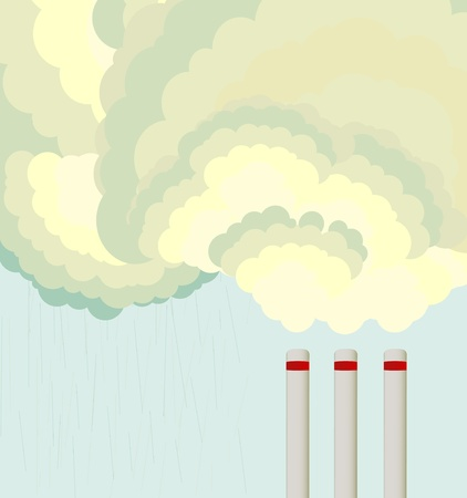 Industry accident elements Chimney with Smog and steam Vector