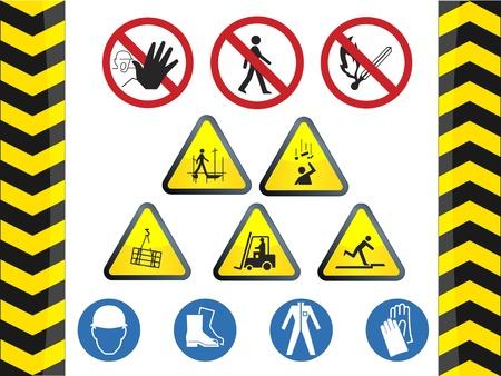 panneaux danger: Sous les signes de danger construction des d�cors Illustration
