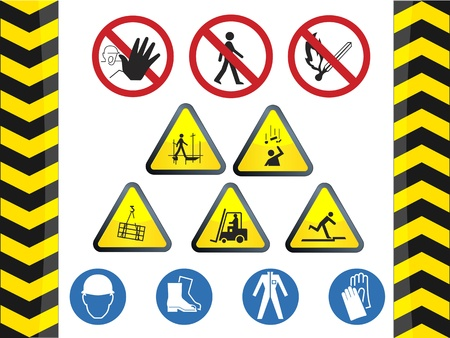 road work: Under construction danger signs set