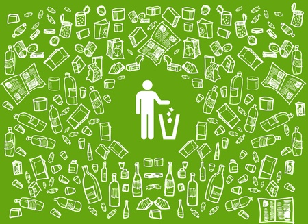 basura organica: Fondo verde de ronda de reciclaje