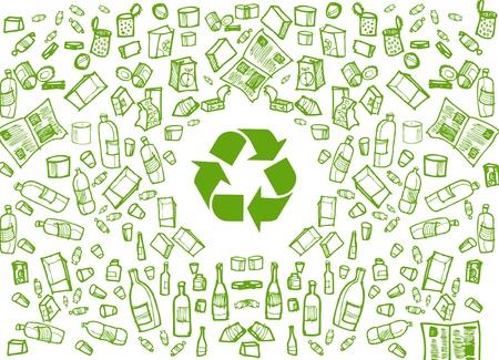 reciclar basura: Fondo verde de ronda de reciclaje