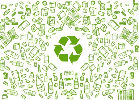 Green recycling round background Vector