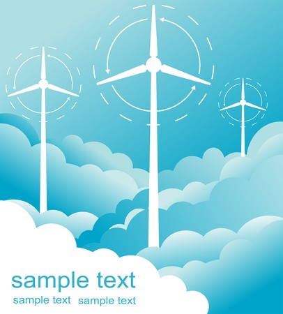 Wind generators or wind turbines Stock Vector - 10330807