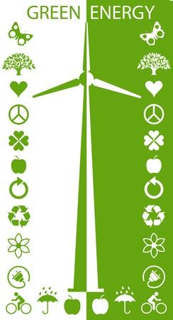 sustainable resources: Eco Green Turbines  Illustration