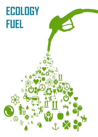 Concepto de Ecología de biocombustibles renovable  Ilustración de vector