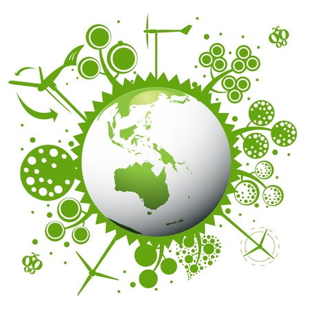 water recycling: Environmental concept with earth globe eco planet
