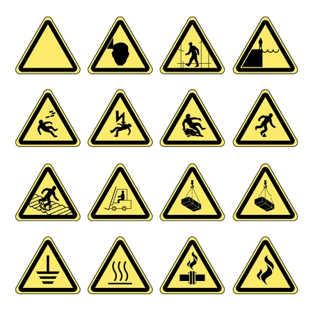gas mask warning sign: Yellow warning and danger signs collection set