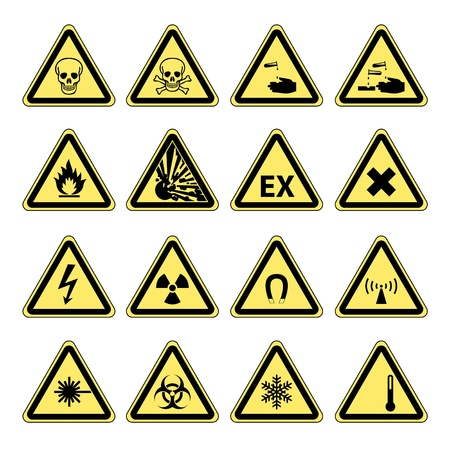 Yellow warning and danger signs collection set