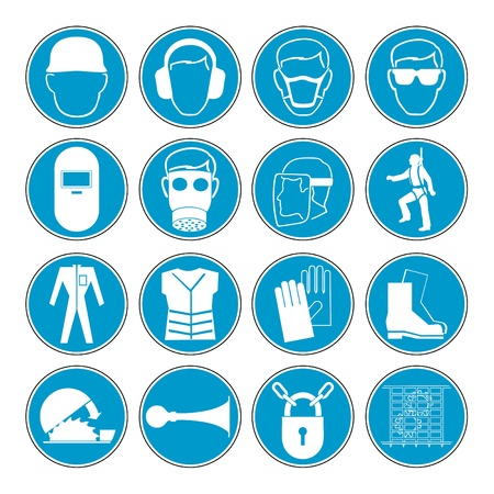safety sign fire safety signs:  set of different international communication signs  Illustration