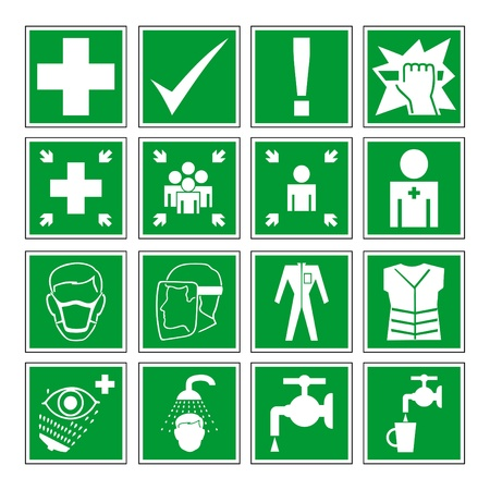 helmet seat:  set of different international communication signs  Illustration