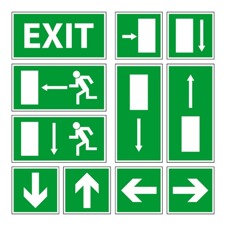 evacuation: Exit signs set