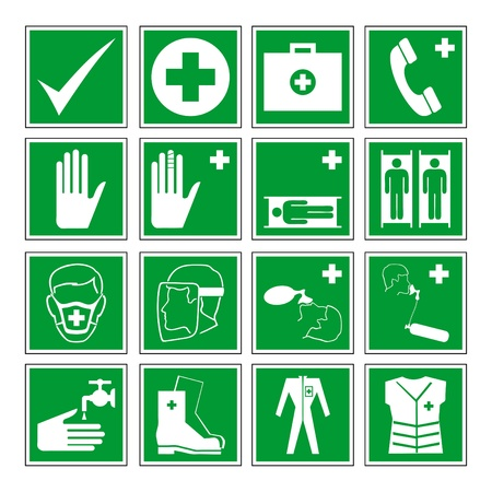 flammable warning: Vector set of different international communication signs Illustration