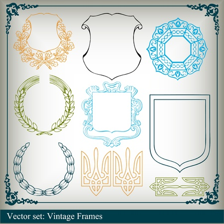 Vintage frames and elements collection background illustration Stock Vector - 10337217