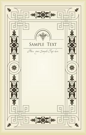 cartouche: Vintage frames and elements background illustration Illustration