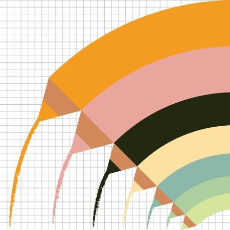descriptive color: Cute colorful color pencils concept background illustration