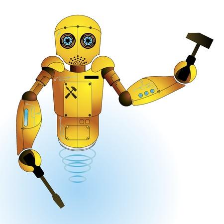 tiny: Cute mechanical engineer robot vector