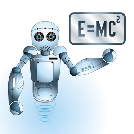 인간형: 귀여운 과학자 엔지니어 로봇