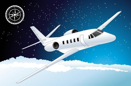 L'avion de passagers à réaction dans l'espace