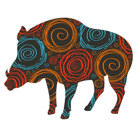 Colorful wild boar background illustration