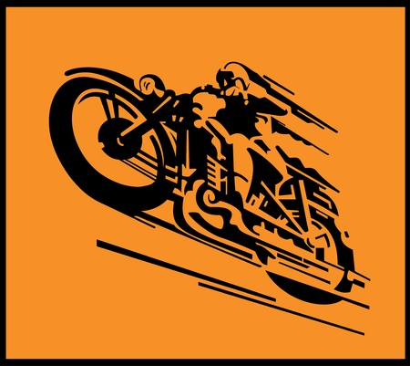 mid air: Ilustraci�n de fondo de motocicleta Vintage vector Vectores