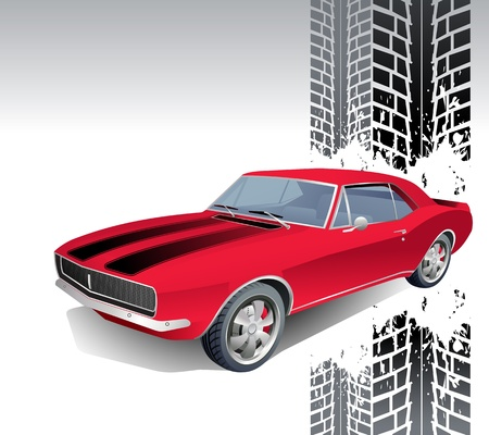 roadster: Vintage muscle car background illustration