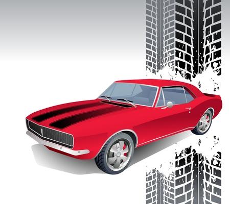 rods: Vintage muscle car background illustration