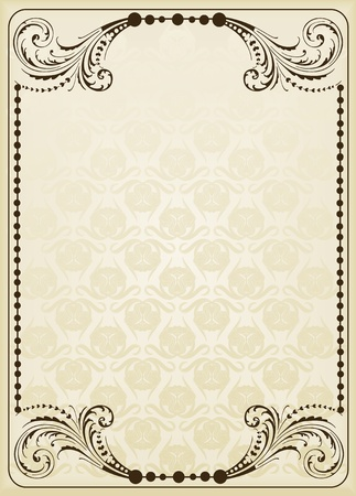 wine label: Vintage frames and elements background illustration Illustration