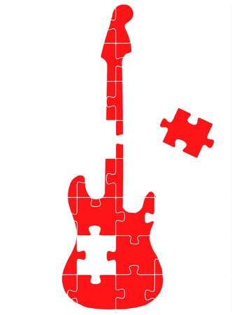 color match: Colorful jigsaw puzzle creative guitar concept illustration Illustration