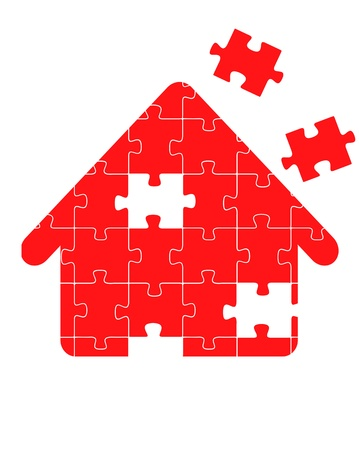 home group: Colorful jigsaw puzzle house concept illustration Illustration