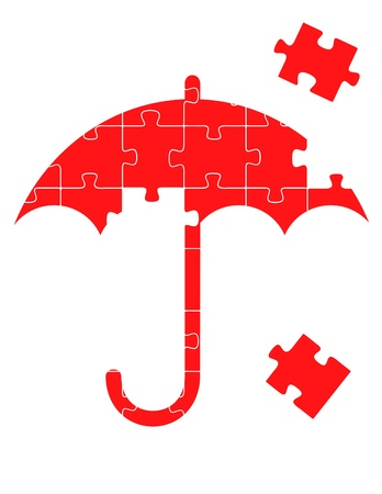 Colorful jigsaw puzzle financial umbrella concept illustration Vector