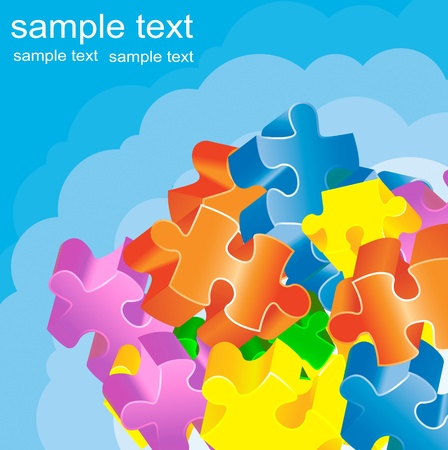 brain game: Colorful jigsaw puzzle background concept illustration