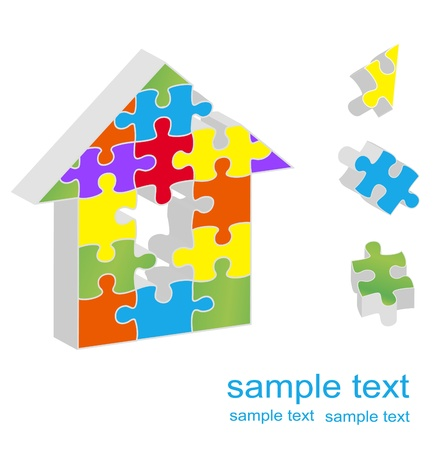 group of objects: Kleurrijke puzzel achtergrond concept illustratie