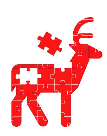 Colorful jigsaw puzzle rain deer concept illustration Stock Vector - 10339170