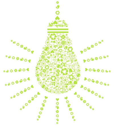 Ecology light bulb made of various green icons Vector