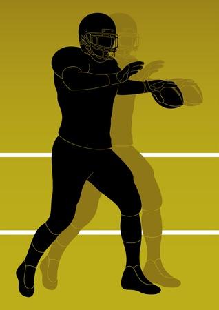 quarterback: American football player background Illustration