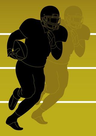 helmet football team: American football player background Illustration