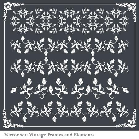 Vintage frames and elements background illustration Vector