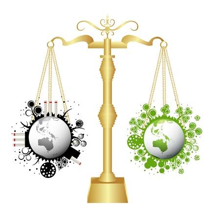 oliedrum: Ecologie schalen concept achtergrond illustratie