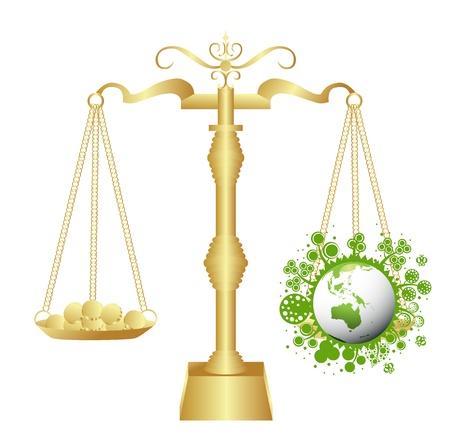 bio diesel: Ecology scales concept background illustration